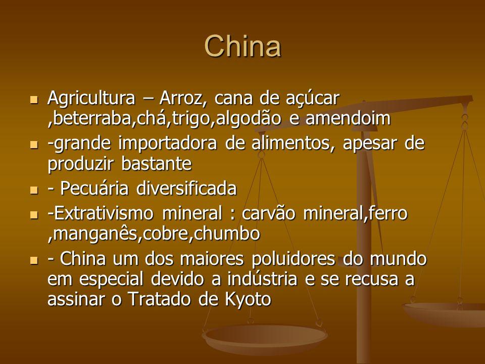 China Agricultura – Arroz, cana de açúcar,beterraba,chá,trigo,algodão e amendoim Agricultura – Arroz, cana de açúcar,beterraba,chá,trigo,algodão e ame