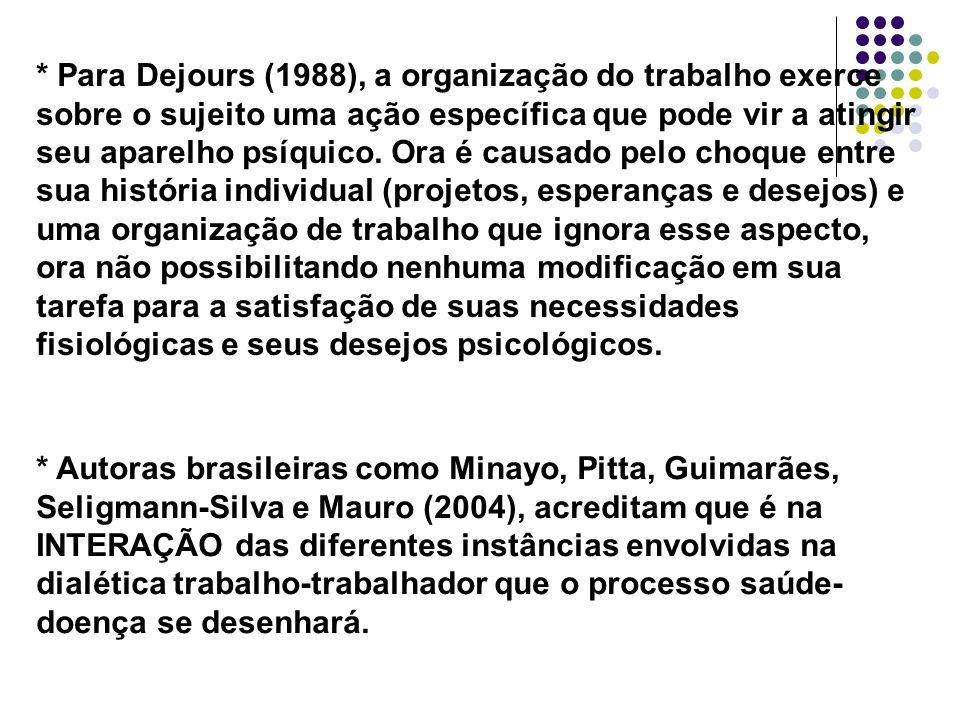 * Para Dejours (1988), a organização do trabalho exerce sobre o sujeito uma ação específica que pode vir a atingir seu aparelho psíquico. Ora é causad