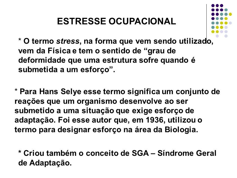 ESTRESSE OCUPACIONAL * O termo stress, na forma que vem sendo utilizado, vem da Física e tem o sentido de grau de deformidade que uma estrutura sofre
