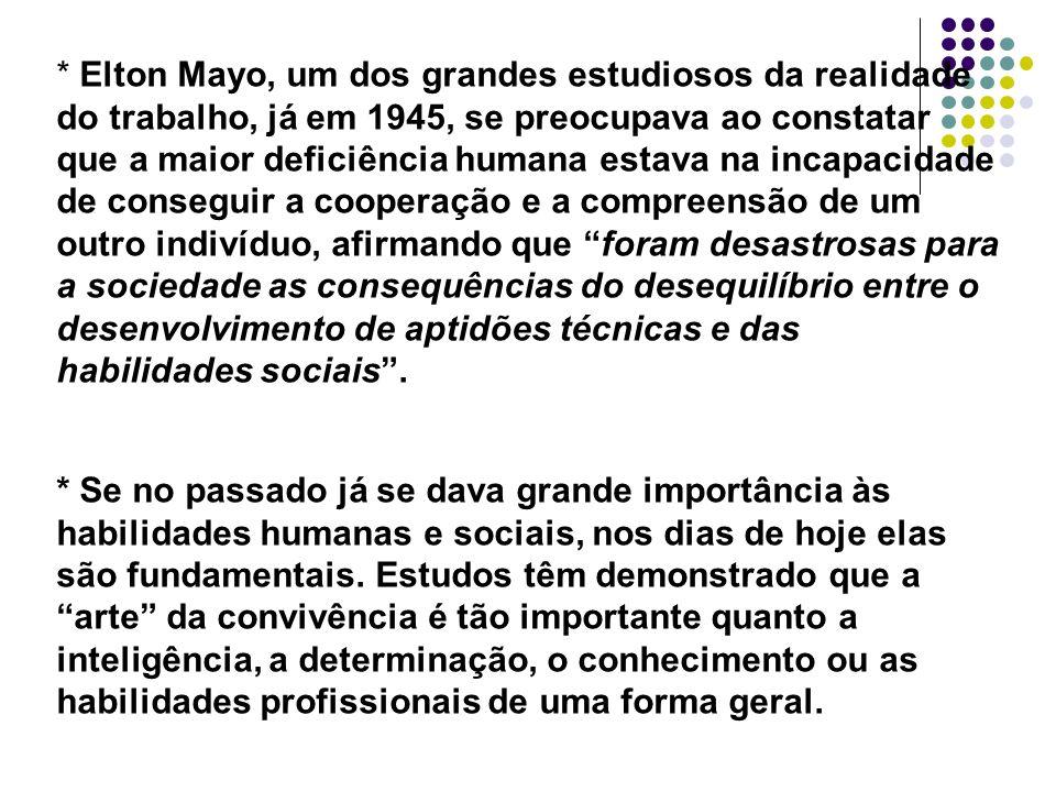 * Elton Mayo, um dos grandes estudiosos da realidade do trabalho, já em 1945, se preocupava ao constatar que a maior deficiência humana estava na inca