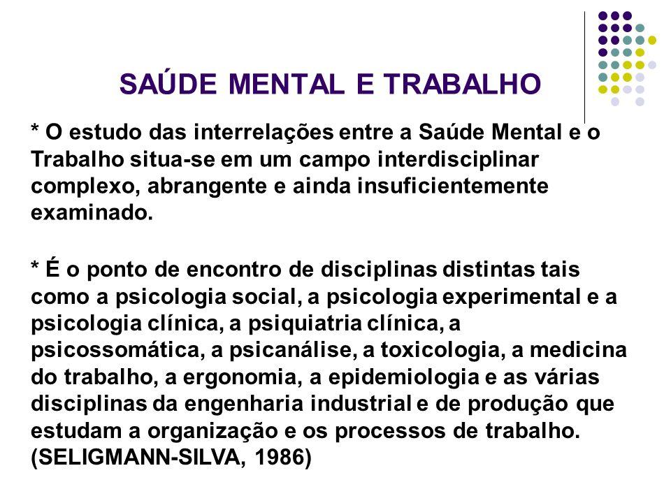 SAÚDE MENTAL E TRABALHO * O estudo das interrelações entre a Saúde Mental e o Trabalho situa-se em um campo interdisciplinar complexo, abrangente e ai