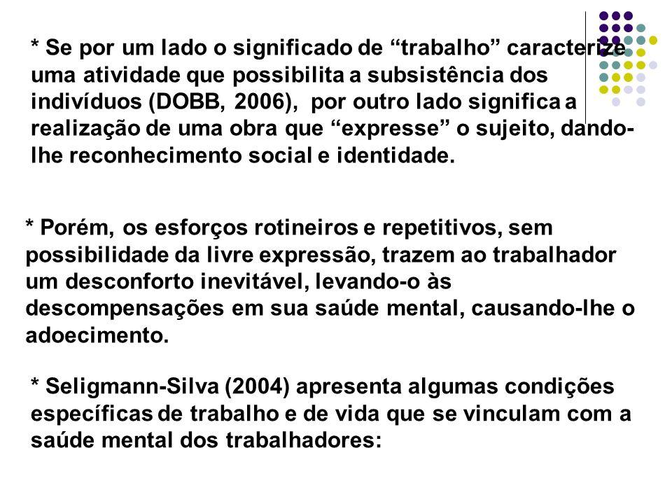 * Se por um lado o significado de trabalho caracterize uma atividade que possibilita a subsistência dos indivíduos (DOBB, 2006), por outro lado signif