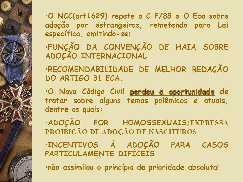 manteve mantendoO Novo Código Civil (artigo 1622) manteve o princípio de que a adoção pode ser feita em conjunto por marido/mulher, união estável, div