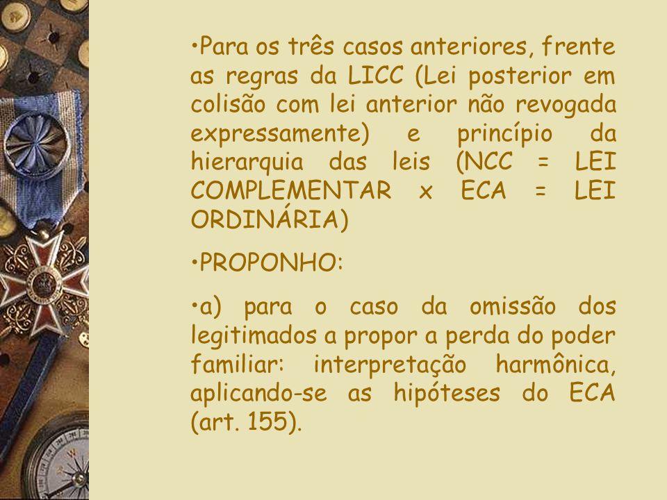 injustificadamenteO Novo Código Civil, no artigo (1638,IV), ao contrário do ECA (art. 24) diz que o descumprimento dos deveres do poder familiar, só é