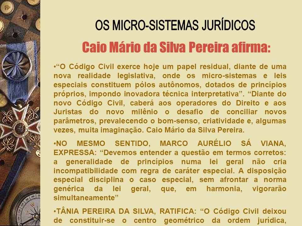 Caio Mário da Silva Pereira afirma: O Código Civil exerce hoje um papel residual, diante de uma nova realidade legislativa, onde os micro-sistemas e leis especiais constituem pólos autônomos, dotados de princípios próprios, impondo inovadora técnica interpretativa.