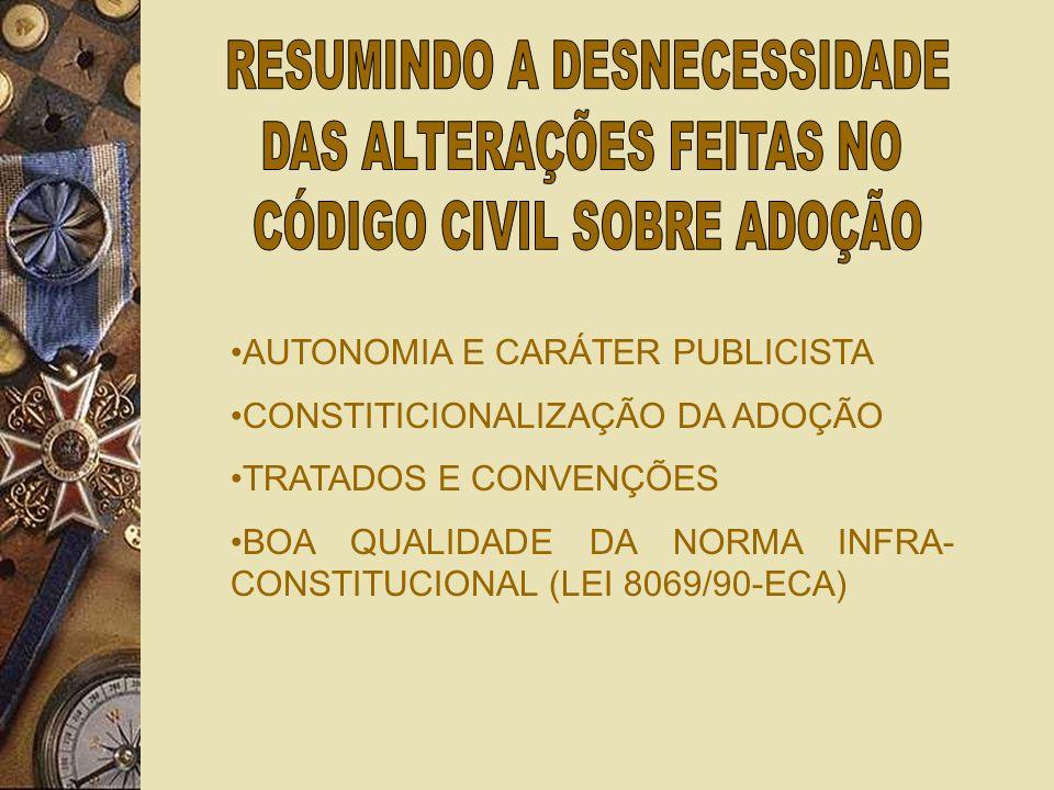 AUTONOMIA E CARÁTER PUBLICISTA CONSTITICIONALIZAÇÃO DA ADOÇÃO TRATADOS E CONVENÇÕES BOA QUALIDADE DA NORMA INFRA- CONSTITUCIONAL (LEI 8069/90-ECA)