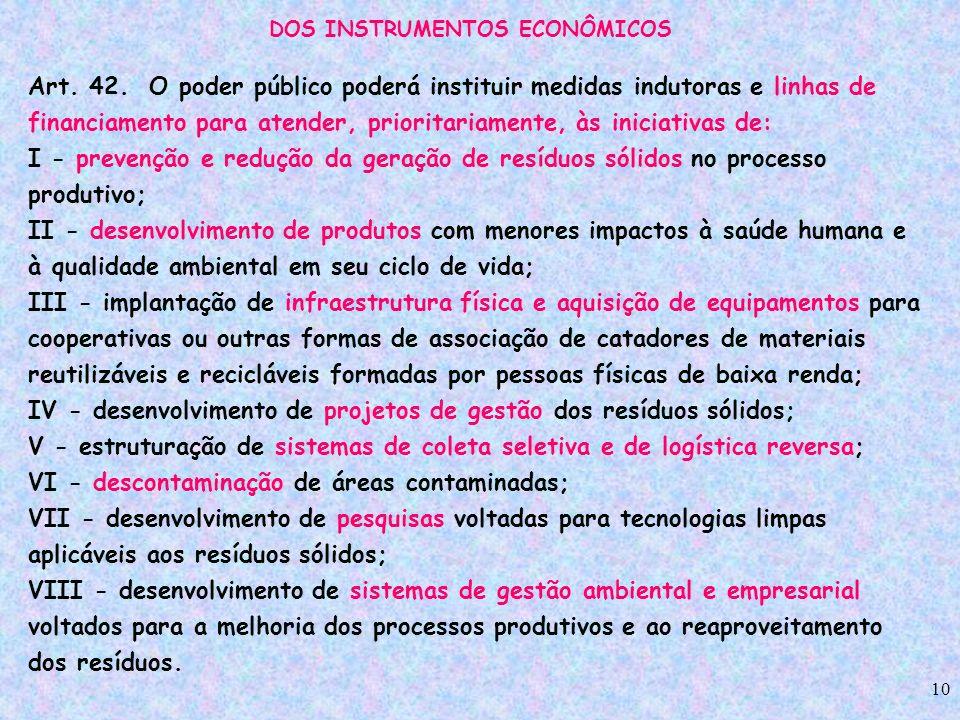 10 DOS INSTRUMENTOS ECONÔMICOS Art. 42. O poder público poderá instituir medidas indutoras e linhas de financiamento para atender, prioritariamente, à