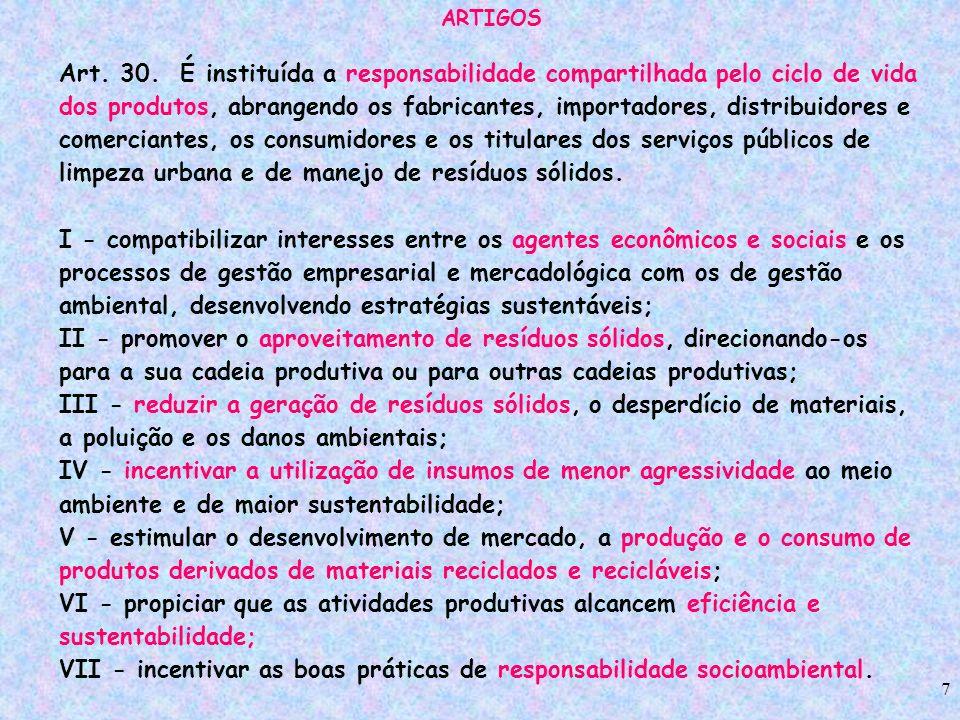 7 ARTIGOS Art. 30. É instituída a responsabilidade compartilhada pelo ciclo de vida dos produtos, abrangendo os fabricantes, importadores, distribuido