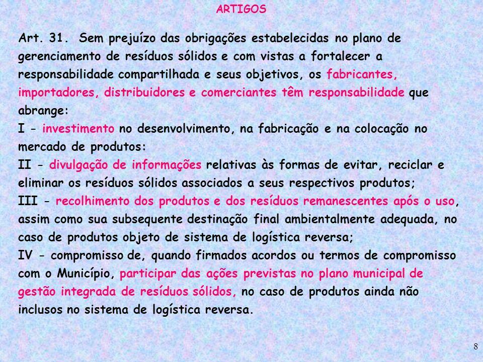 8 ARTIGOS Art. 31. Sem prejuízo das obrigações estabelecidas no plano de gerenciamento de resíduos sólidos e com vistas a fortalecer a responsabilidad
