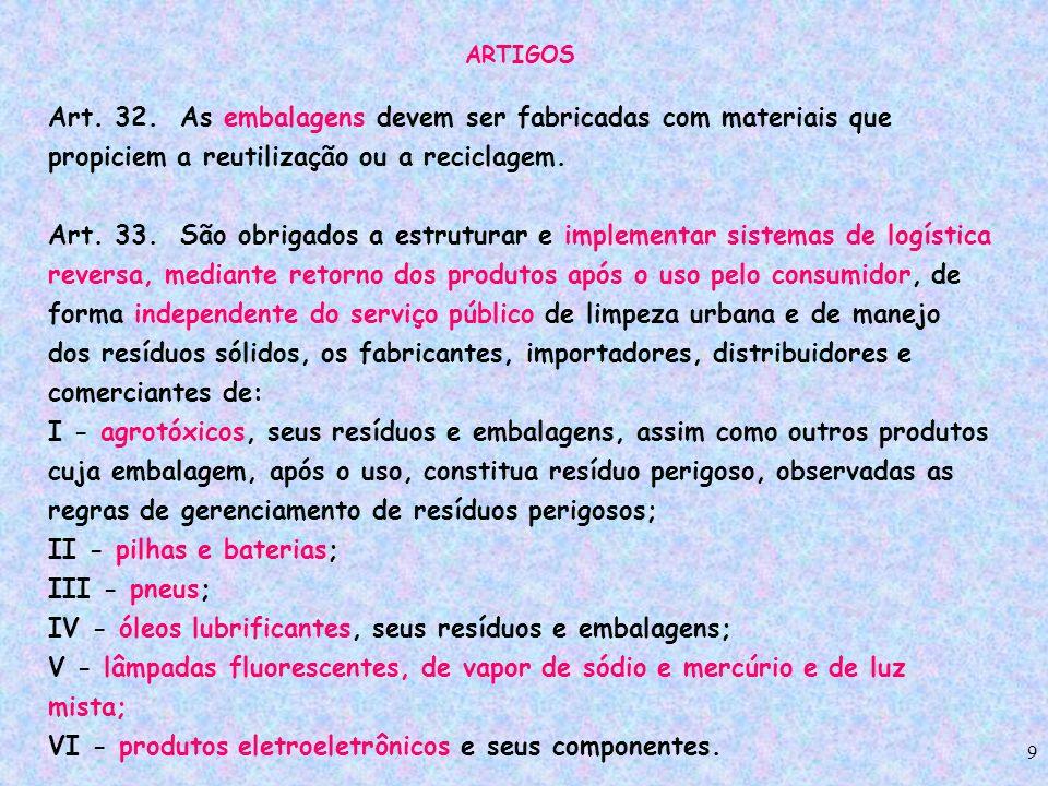 9 ARTIGOS Art. 32. As embalagens devem ser fabricadas com materiais que propiciem a reutilização ou a reciclagem. Art. 33. São obrigados a estruturar