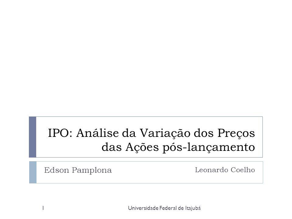Universidade Federal de Itajubá2 Agenda Relevância Objetivo Introdução IPO: Vantagens e Desvantagens IPO: Custos e Procedimentos Método Cálculo IPO no mundo: Resultados Subvalorização - hipóteses IPO no Brasil: Histórico IPO no Brasil: Resultados Conclusão
