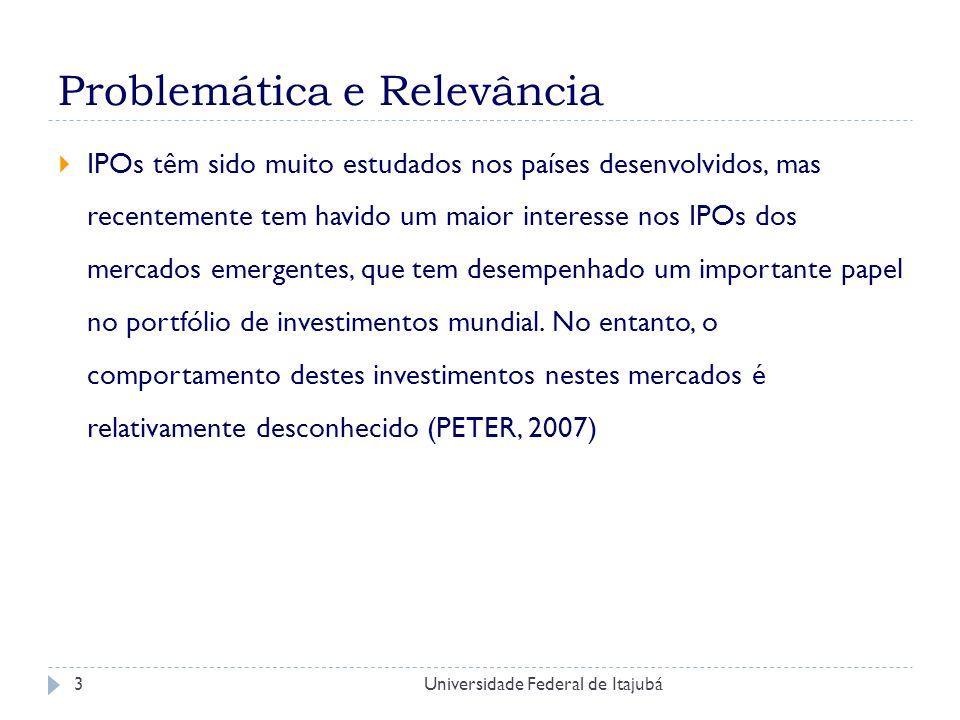 Universidade Federal de Itajubá4 Problemática e Relevância O sucesso de se tornar uma empresa aberta depende, além de outros fatores, da habilidade de determinar o preço de oferta, que representa justamente o valor intrínseco da empresa.