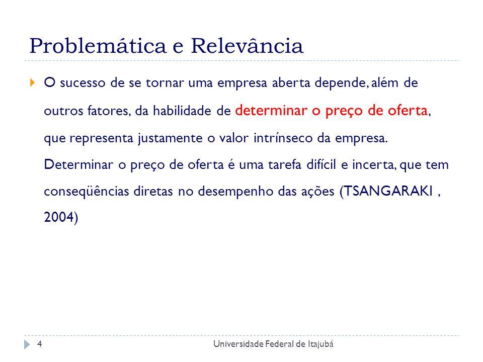 Universidade Federal de Itajubá5 Problemática e Relevância Estudos de outros mercados Importância IPO Crescimento número investidores Aumento IPO mercado brasileiro Entender comportamento mercado brasileiro