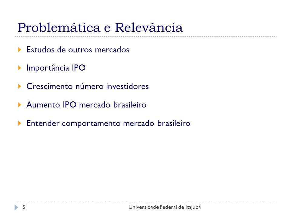 Universidade Federal de Itajubá6 Objetivo Analisar e documentar a performance das IPOs no Brasil - em diferentes intervalos de tempo.