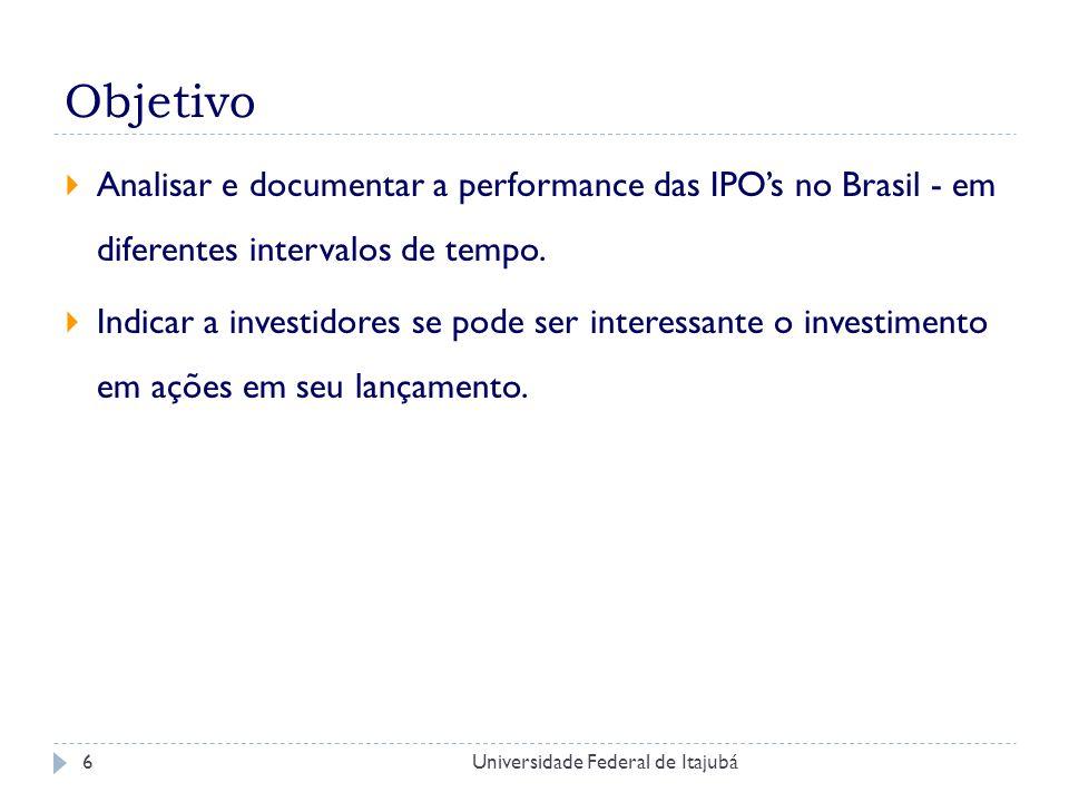 Universidade Federal de Itajubá7 Introdução - Contextualização IPO - ponto de virada gestão Plano de lançamento Supervalorização vs Subvalorização Se o preço for muito alto em uma IPO, a oferta poderá fracassar e ser retirada.