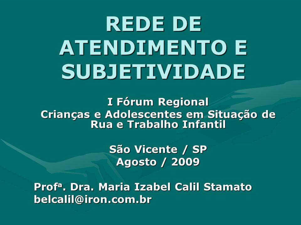 REDE DE ATENDIMENTO E SUBJETIVIDADE I Fórum Regional Crianças e Adolescentes em Situação de Rua e Trabalho Infantil São Vicente / SP Agosto / 2009 Pro