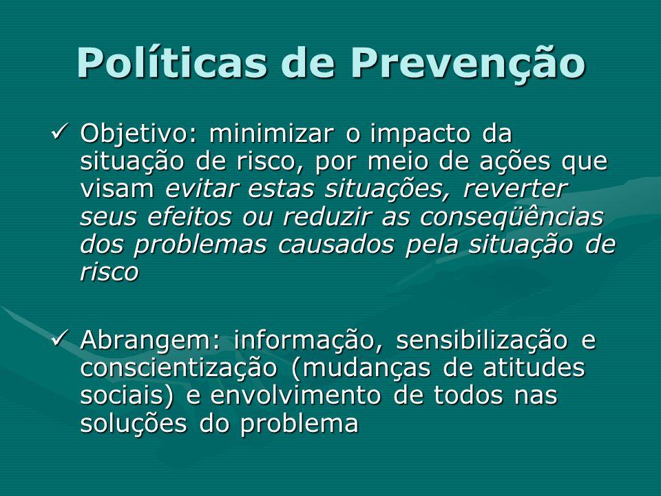 Políticas de Prevenção Objetivo: minimizar o impacto da situação de risco, por meio de ações que visam evitar estas situações, reverter seus efeitos o