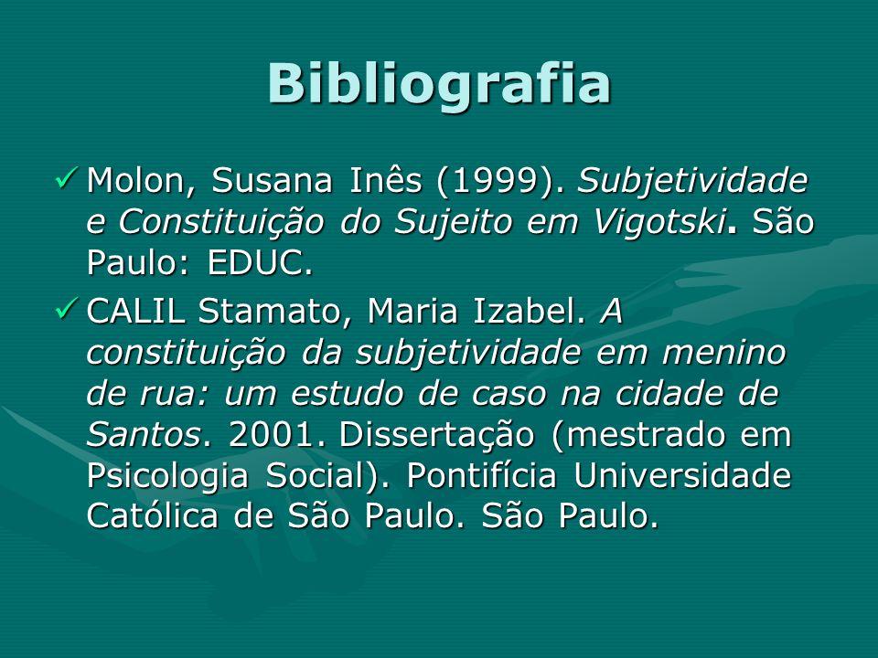 Bibliografia Molon, Susana Inês (1999). Subjetividade e Constituição do Sujeito em Vigotski. São Paulo: EDUC. Molon, Susana Inês (1999). Subjetividade