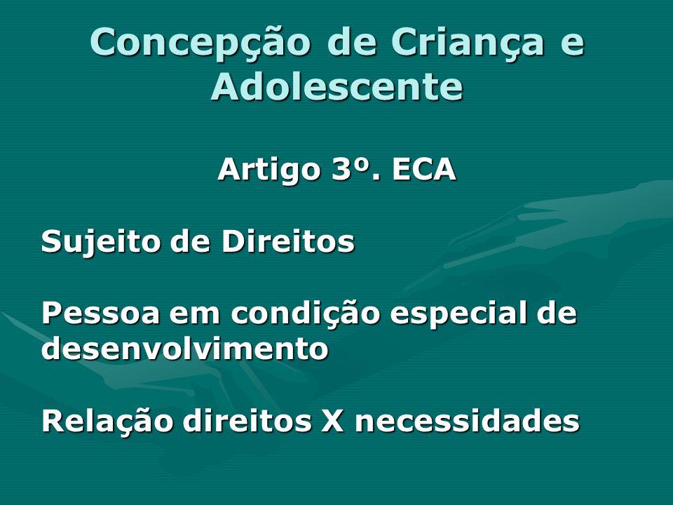 Concepção de Criança e Adolescente Artigo 3º. ECA Sujeito de Direitos Pessoa em condição especial de desenvolvimento Relação direitos X necessidades