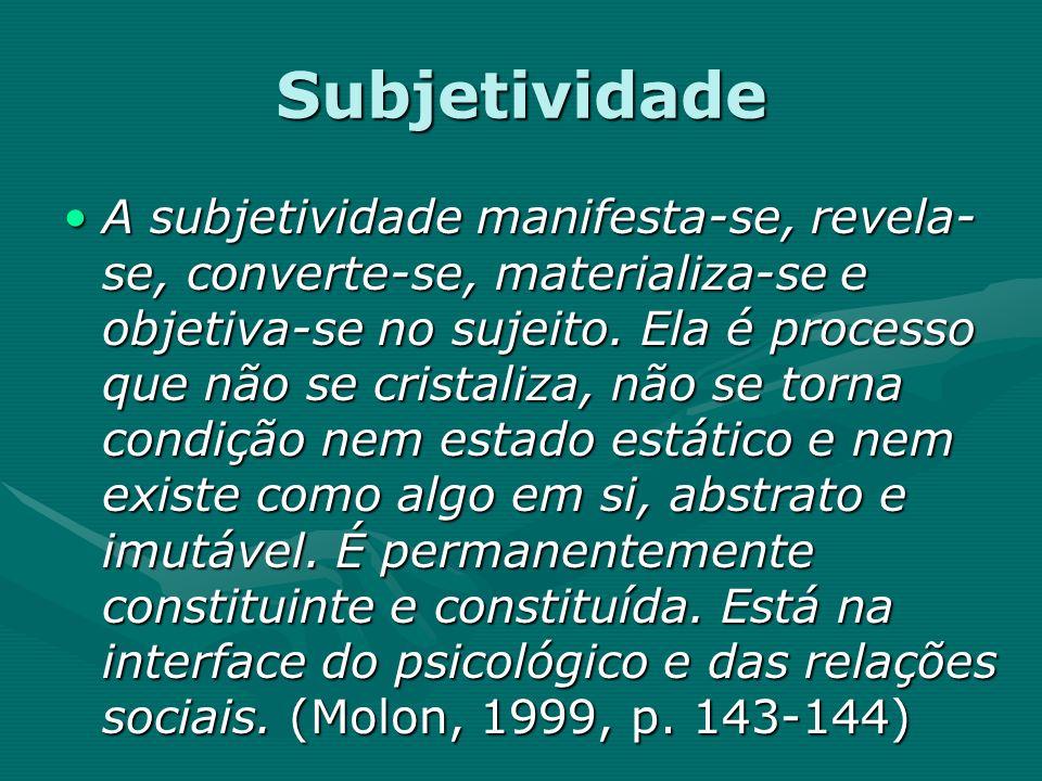 Subjetividade A subjetividade manifesta-se, revela- se, converte-se, materializa-se e objetiva-se no sujeito. Ela é processo que não se cristaliza, nã