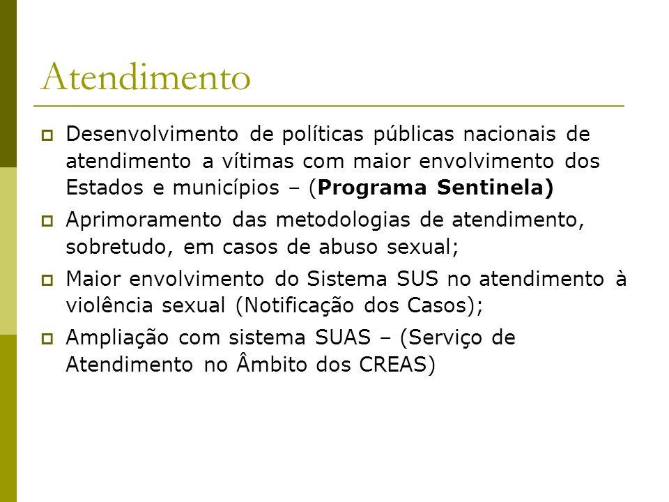 Atendimento Desenvolvimento de políticas públicas nacionais de atendimento a vítimas com maior envolvimento dos Estados e municípios – (Programa Senti