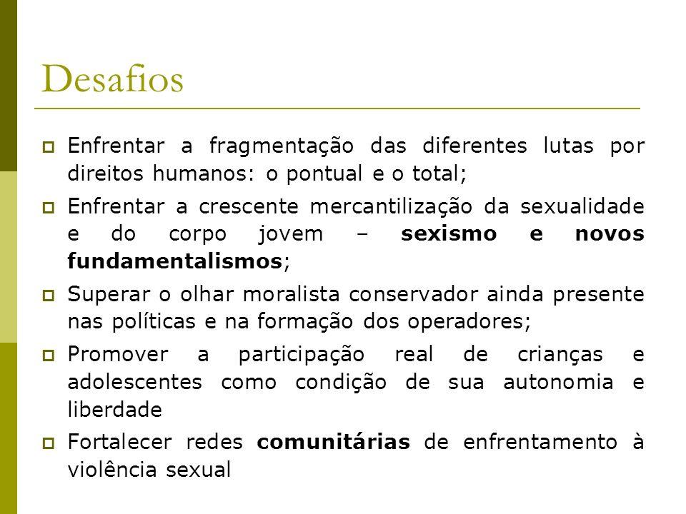 Desafios Enfrentar a fragmentação das diferentes lutas por direitos humanos: o pontual e o total; Enfrentar a crescente mercantilização da sexualidade