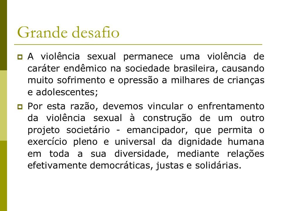 Grande desafio A violência sexual permanece uma violência de caráter endêmico na sociedade brasileira, causando muito sofrimento e opressão a milhares