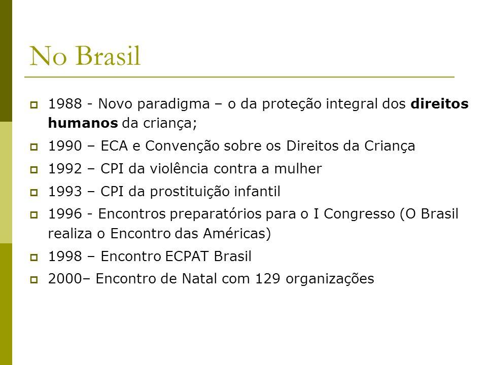 No Brasil 1988 - Novo paradigma – o da proteção integral dos direitos humanos da criança; 1990 – ECA e Convenção sobre os Direitos da Criança 1992 – C