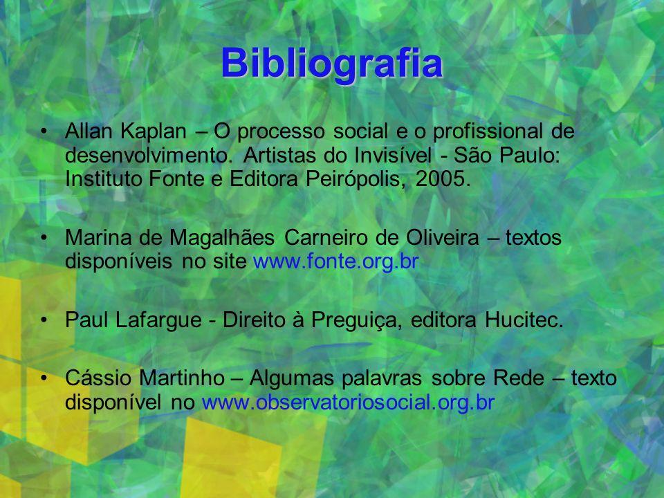 Bibliografia Allan Kaplan – O processo social e o profissional de desenvolvimento.