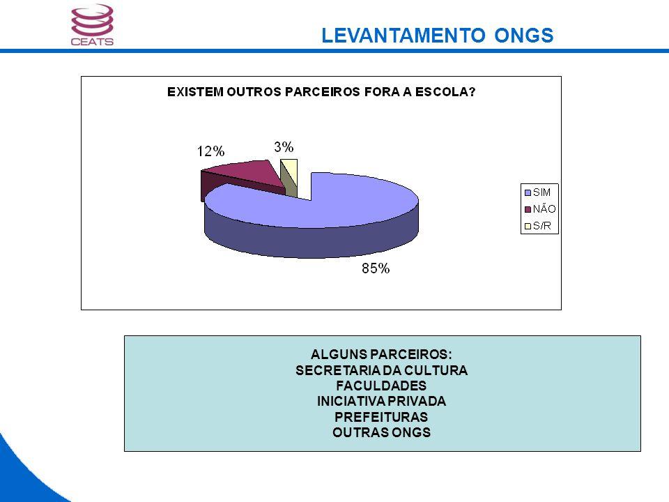 ALGUNS PARCEIROS: SECRETARIA DA CULTURA FACULDADES INICIATIVA PRIVADA PREFEITURAS OUTRAS ONGS LEVANTAMENTO ONGS
