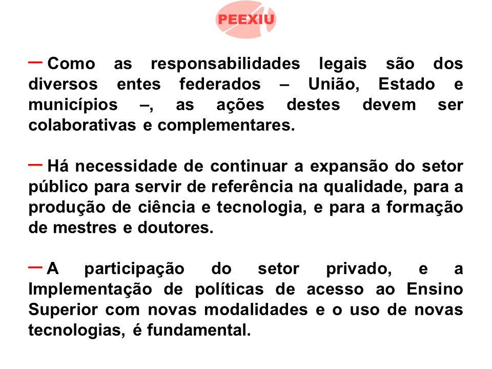 – Como as responsabilidades legais são dos diversos entes federados – União, Estado e municípios –, as ações destes devem ser colaborativas e complementares.