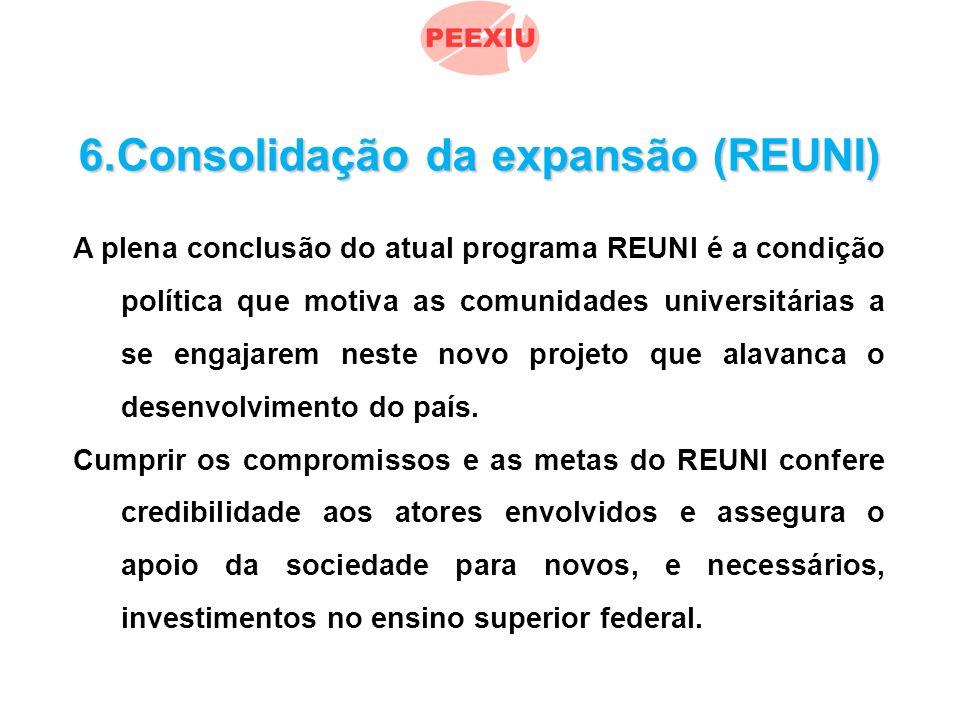 6.Consolidação da expansão (REUNI) A plena conclusão do atual programa REUNI é a condição política que motiva as comunidades universitárias a se engajarem neste novo projeto que alavanca o desenvolvimento do país.