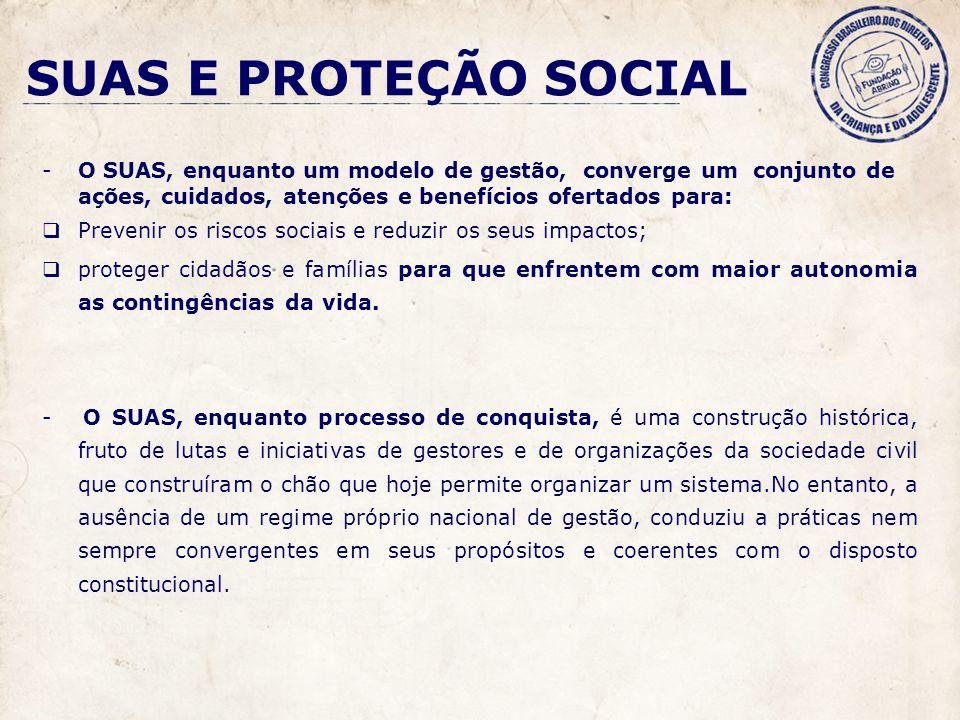 SUAS E PROTEÇÃO SOCIAL -O SUAS, enquanto um modelo de gestão, converge um conjunto de ações, cuidados, atenções e benefícios ofertados para: Prevenir