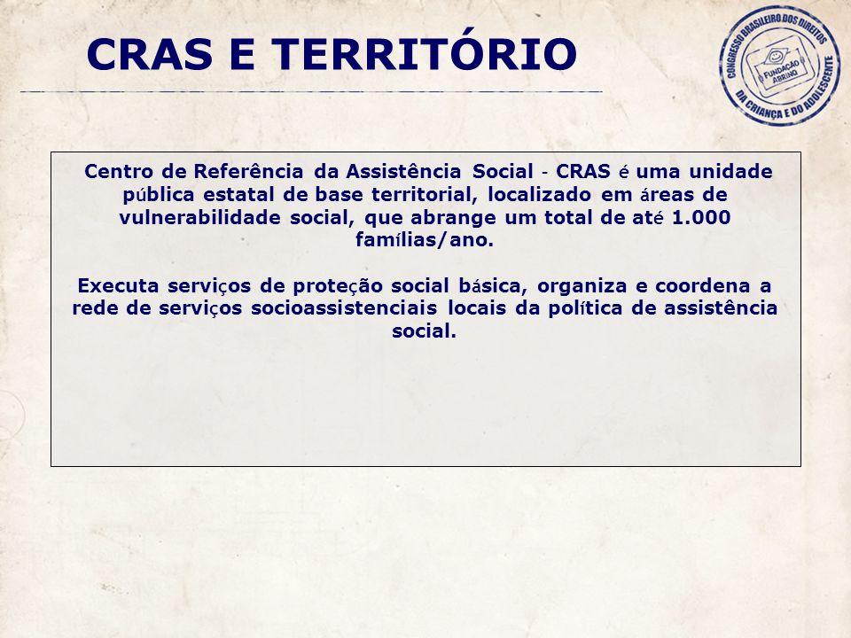 C entro de Referência da Assistência Social – CRAS é uma unidade p ú blica estatal de base territorial, localizado em á reas de vulnerabilidade social, que abrange um total de at é 1.000 fam í lias/ano.