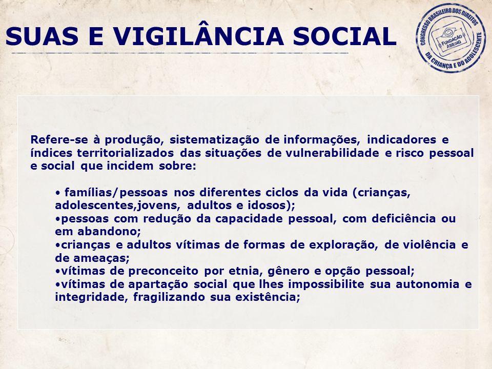 SUAS E VIGILÂNCIA SOCIAL Refere-se à produção, sistematização de informações, indicadores e índices territorializados das situações de vulnerabilidade