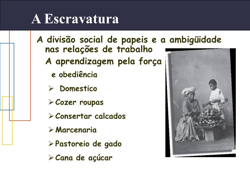 A Escravatura A divisão social de papeis e a ambigüidade nas relações de trabalho A aprendizagem pela força e obediência Domestico Cozer roupas Conser