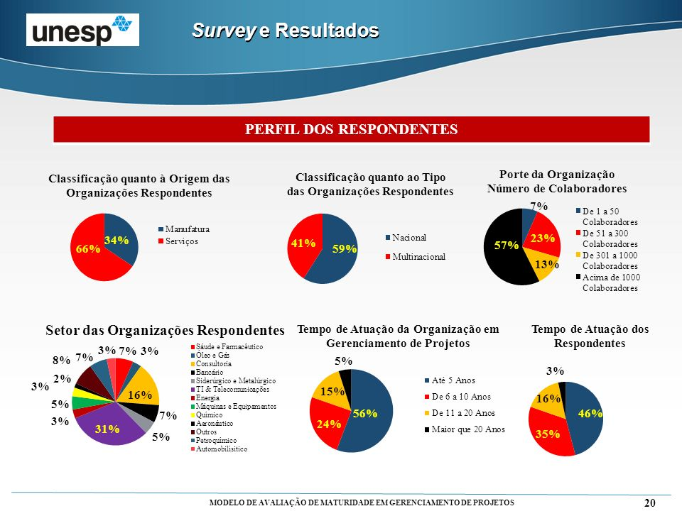 MODELO DE AVALIAÇÃO DE MATURIDADE EM GERENCIAMENTO DE PROJETOS 20 PERFIL DOS RESPONDENTES Survey e Resultados