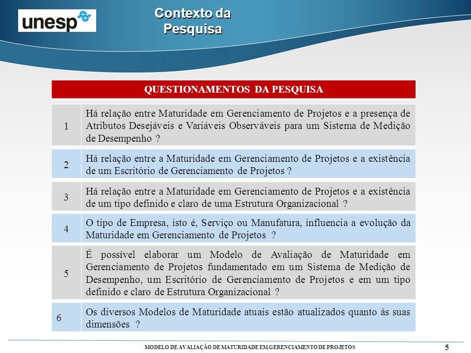 MODELO DE AVALIAÇÃO DE MATURIDADE EM GERENCIAMENTO DE PROJETOS Estudo de Caso Múltiplo Questionário Utilizado: Figueiredo, filtrado pela Análise com PLS.
