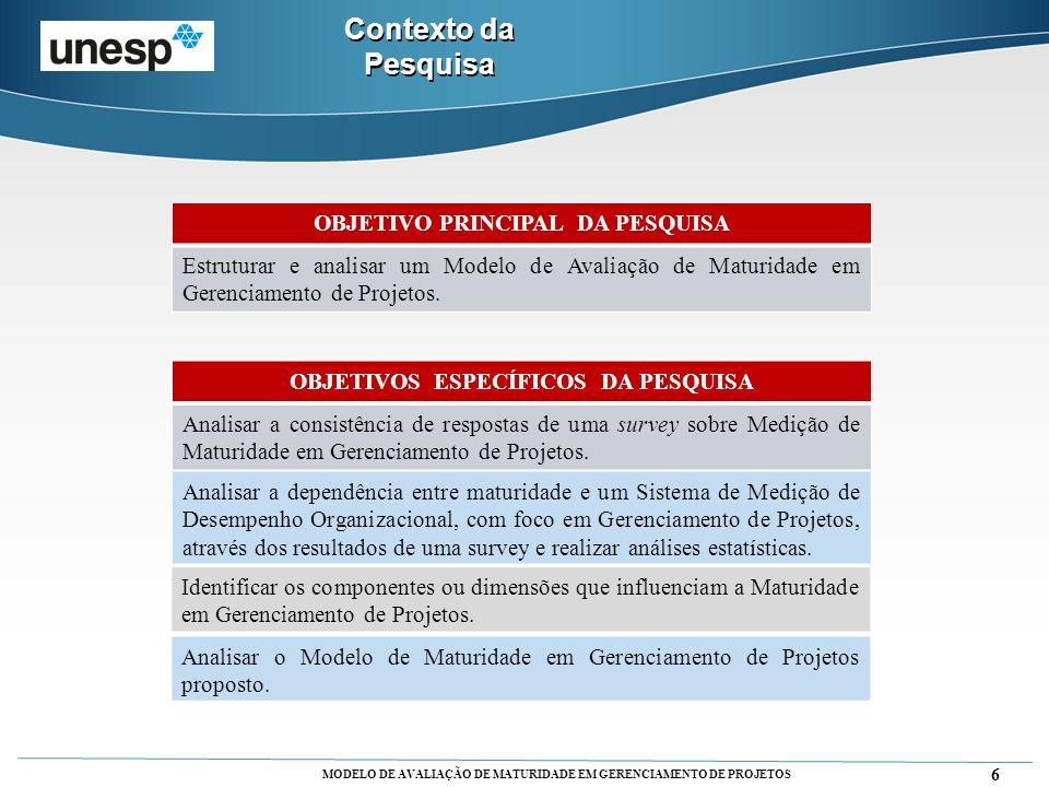 MODELO DE AVALIAÇÃO DE MATURIDADE EM GERENCIAMENTO DE PROJETOS 6 OBJETIVO PRINCIPAL DA PESQUISA Estruturar e analisar um Modelo de Avaliação de Maturi