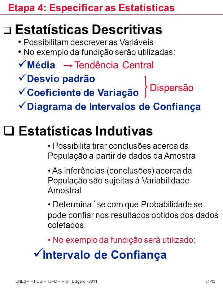 UNESP – FEG – DPD – Prof. Edgard - 201101-15 Etapa 4: Especificar as Estatísticas Estatísticas Descritivas Possibilitam descrever as Variáveis No exem