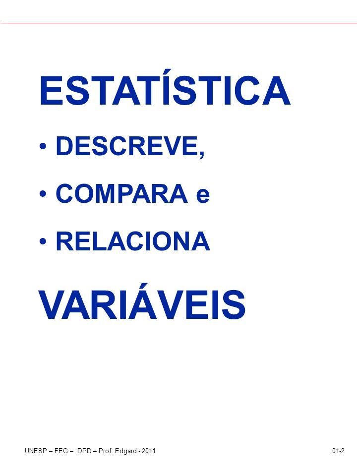 UNESP – FEG – DPD – Prof. Edgard - 201101-2 ESTATÍSTICA DESCREVE, COMPARA e RELACIONA VARIÁVEIS