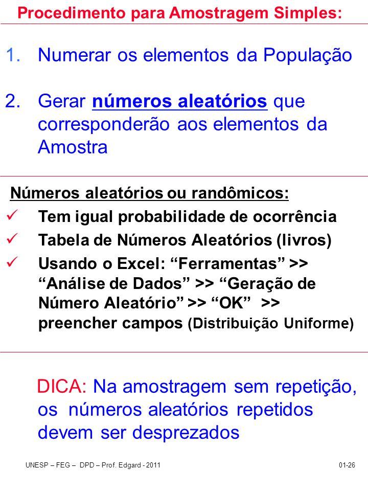 UNESP – FEG – DPD – Prof. Edgard - 201101-26 1.Numerar os elementos da População 2.Gerar números aleatórios que corresponderão aos elementos da Amostr
