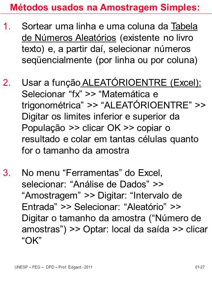 UNESP – FEG – DPD – Prof. Edgard - 201101-27 Métodos usados na Amostragem Simples: 1.Sortear uma linha e uma coluna da Tabela de Números Aleatórios (e