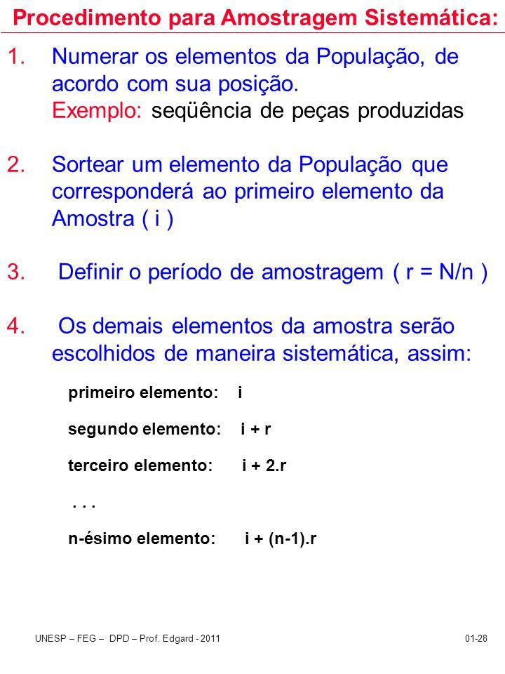 UNESP – FEG – DPD – Prof. Edgard - 201101-28 1.Numerar os elementos da População, de acordo com sua posição. Exemplo: seqüência de peças produzidas 2.