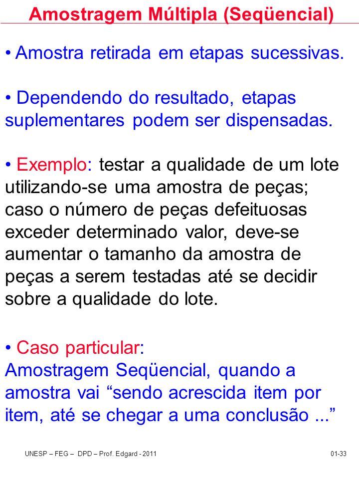 UNESP – FEG – DPD – Prof. Edgard - 201101-33 Amostragem Múltipla (Seqüencial) Amostra retirada em etapas sucessivas. Dependendo do resultado, etapas s