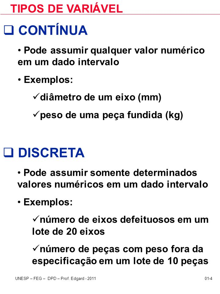 UNESP – FEG – DPD – Prof. Edgard - 201101-4 CONTÍNUA Pode assumir qualquer valor numérico em um dado intervalo Exemplos: diâmetro de um eixo (mm) peso