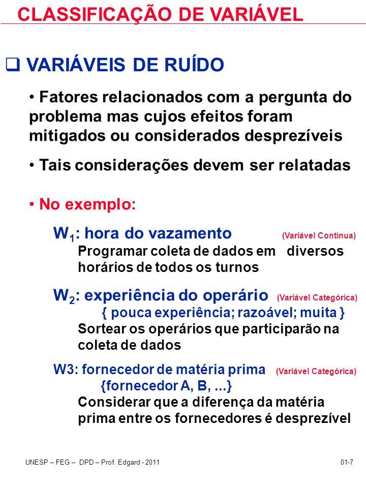 UNESP – FEG – DPD – Prof. Edgard - 201101-7 CLASSIFICAÇÃO DE VARIÁVEL VARIÁVEIS DE RUÍDO Fatores relacionados com a pergunta do problema mas cujos efe