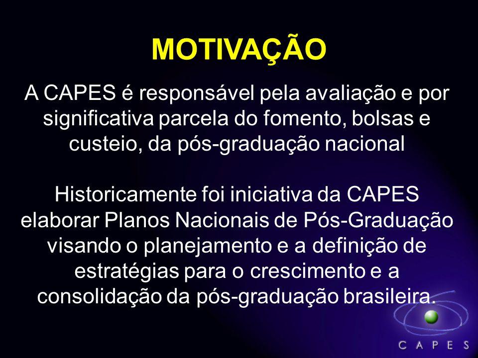 A CAPES é responsável pela avaliação e por significativa parcela do fomento, bolsas e custeio, da pós-graduação nacional Historicamente foi iniciativa da CAPES elaborar Planos Nacionais de Pós-Graduação visando o planejamento e a definição de estratégias para o crescimento e a consolidação da pós-graduação brasileira.