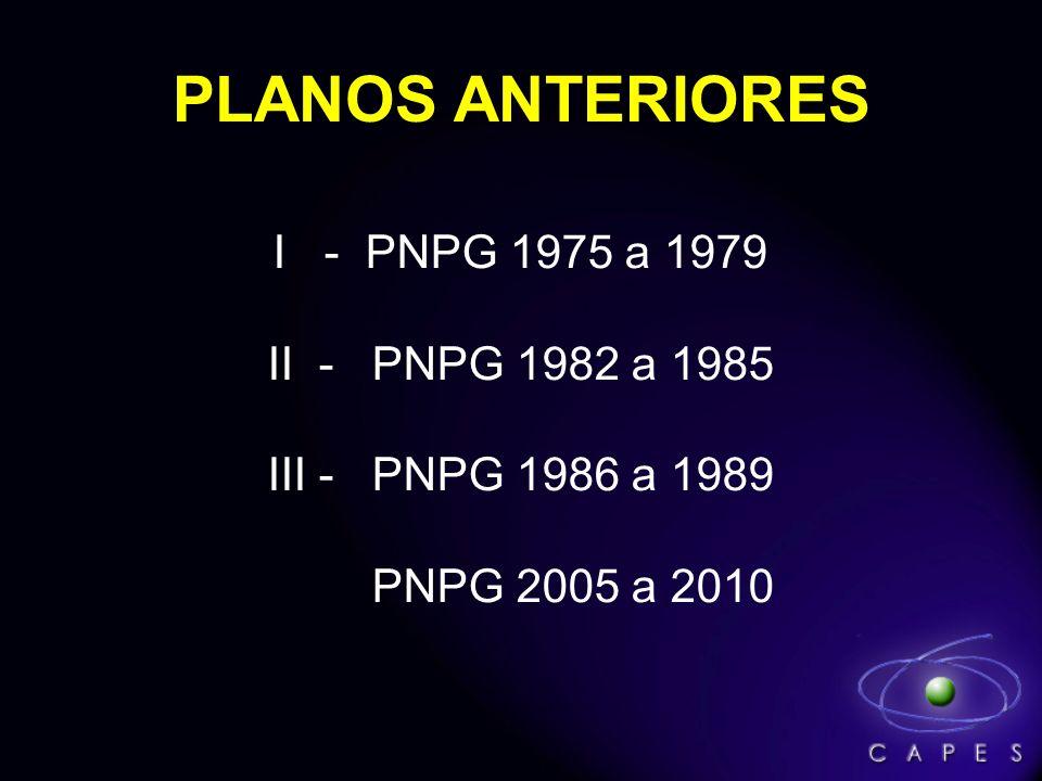 PLANOS ANTERIORES I - PNPG 1975 a 1979 II - PNPG 1982 a 1985 III - PNPG 1986 a 1989 PNPG 2005 a 2010