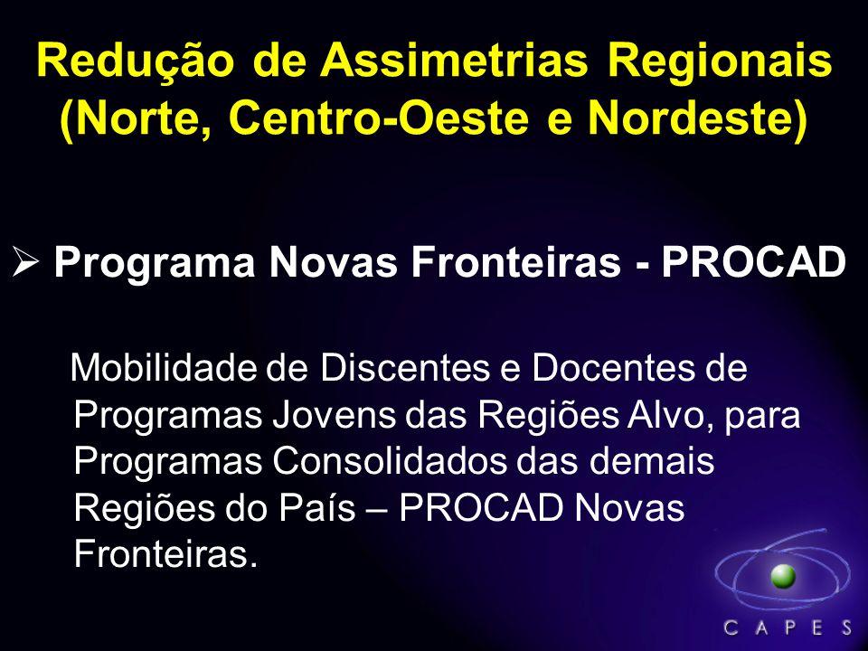 Programa Novas Fronteiras - PROCAD Mobilidade de Discentes e Docentes de Programas Jovens das Regiões Alvo, para Programas Consolidados das demais Regiões do País – PROCAD Novas Fronteiras.